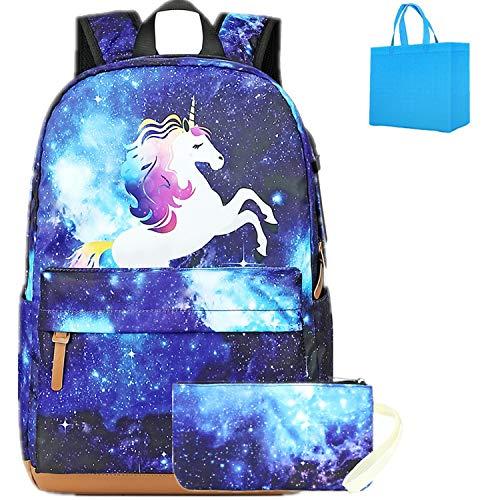 Galaxy Zaino Bambina Borse Scuola Unicorno Zaini Ragazze Adolescenti Bambino Zainetti bambini Zainetto Zaino Leggero con Penna Astuccio blu (blu)