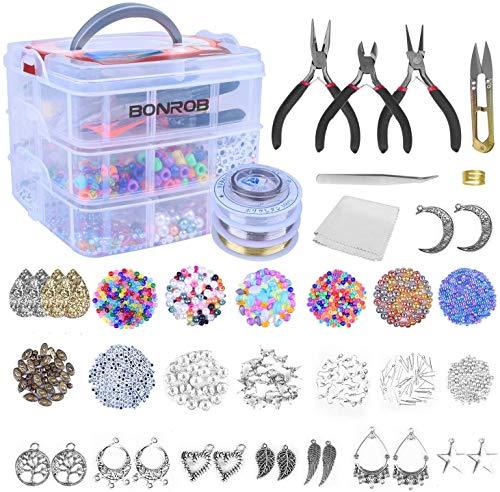 BONROB Kit de Fabricación de Joyas de 1500 Piezas con Alicates, Perlas, Abalorios de Joyería y Dijes para Pulsera, Aretes de Collar,Kits para Hacer Bisutería BO021