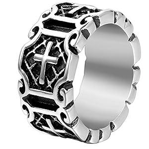 JewelryWe Schmuck Herren-Ring, Edelstahl, Retro Tribal Spiner Spinning Kreuz, Schwarz Silber - Größe 67