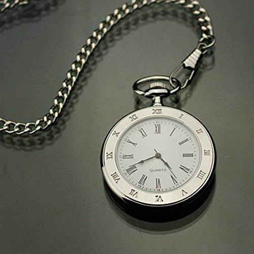 QB-Pocket watches Regalos de Moda Retro Hombres y Mujeres Estudiantes de Mesa Estudiantes sin Tapa Doble Reloj de Cuarzo Femenino Masculino Romano Relojes