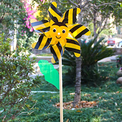 UYT 1 Set of 2 Bee Beetles Colorful Wooden Plastic Windmill,Wood Bee Beetle Windmill Wind Spinner Pinwheels Home Garden Yard Decoration Kids Toys