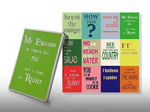 Postkarten Denglisch Set - Starterkit Nr 1 - Geschenkdose for Engleutsch-Oncatcher - 12 x Best of Denglish Sprüche zum Verschenken - Geschenk für Lehrer - Englisch lustig