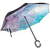 mengmeng Reverse/Inverted Pink Print Blue Paraguas Recto de Doble Capa Bolso autoportante y de Transporte para Manos Libres