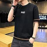 Leftroad Camiseta de Hombre de Varios tamaños con Cuello Redondo,Camiseta de Manga Corta Nueva de Verano de algodón para Hombre-Negro B_XXL #,Camiseta Ligera de Secado rápido para Hombre