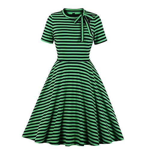 Wellwits Damen-Kleid, gestreift, Schlüsselloch, Krawattenhalsausschnitt, 40er-/50er-Jahre-Stil, Retro-/Vintage-Stil Gr. 40, grün