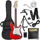 3rd Avenue Conjunto de guitarra eléctrica de iniciación de tamaño estándar con amplificador, afinador, cable, soporte, funda de transporte, correa, púas de repuesto y cejilla, Rojo
