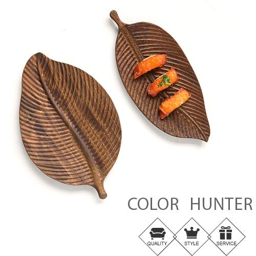 Color Hunter Serving Dish 丨Plates for snacks and dessert 丨Lightweight 丨Acacia Wood丨29.518cm