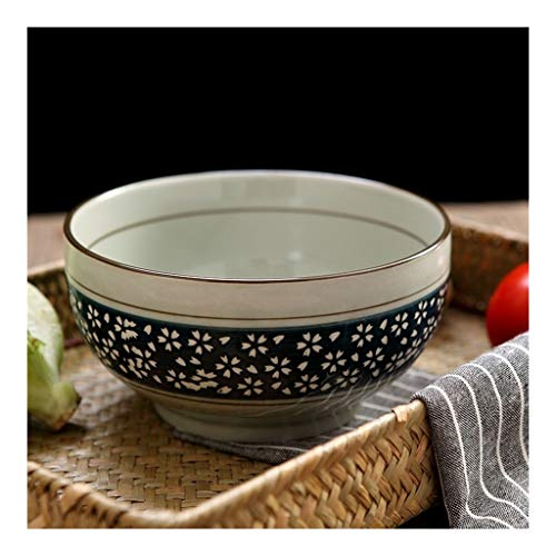 Thuis grote pols Keramische Bowl/Salade Bowl/Rijst Bowl/Couple Bowl/Onderglazuur Bowl/Servies Authentieke Japanse Traditionele Thee Ceremonie Matcha Bowl Chawan Textuur Glaze Bloemen Ontwerp Handgemaakt in Japan Deco