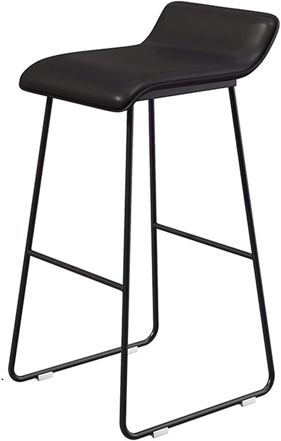 Nordic Bar Stool Wrought Iron gold Bar Stool Home Backrest High Chair 65CM (color   Black, Size   65CM)