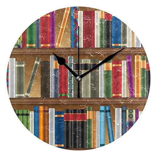 DEZIRO Bibliotheek Planken Met Oude Boeken Foto Beste Alarm Klok Ronde Muur Klok hangstandaard Grote Klok