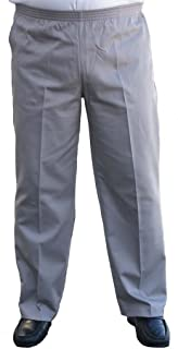 The Senior Shop Men's Full Elastic Waist, No Zipper, Buttons Loops, Pull On Twill Casual Pant