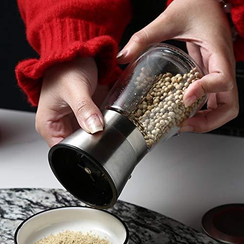 Markcur Salz und Pfeffer Mühle Gewürzmühle aus Glas und Edelstahl für verschiedene Gewürze einsetzbar — 13.3 x 6.5 cm