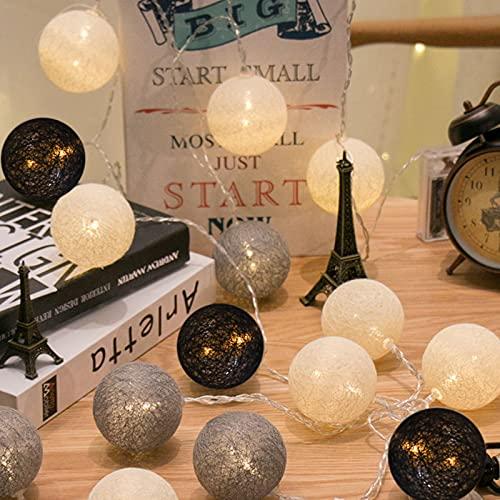 Runaup 20 LED Bola de algodón Luces de cadena 3,3M 10,8pies Bateria cargada Luces decorativas esféricas para la fiesta del balcón del gazebo de la cortina del dormitorio