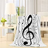 Flannel Fleece Bed Blanket 40 x 50 inch Music Decor Throw Blanket Lightweight Cozy Plush Blanket for Bedroom Living Rooms Sofa Couch - Music Notes Black and White
