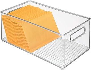 mDesign bac de rangement pour les affaires de bureau – grand bac en plastique pour le placard ou le tiroir – panier de ran...