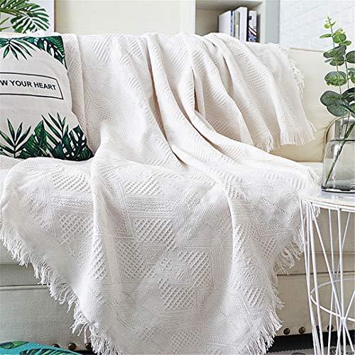 DFLYHLH Sofá Toalla Manta de Tiro de Color sólido Tejido de sofá Fundas Manta Toalla a Cuadros Fundas Decoración del hogar White 02 90x240cm