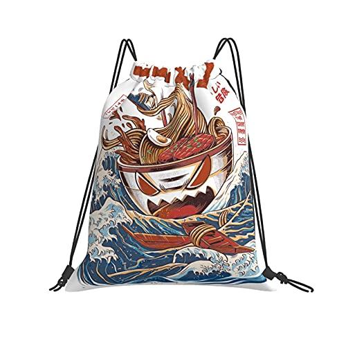 QUEMIN Bolso clásico con cordón The Wave Off Kanagawa Ramen Gimnasio Saco Bolsa Mochila con cordón Bolsa de Deporte de poliéster para Hombres y Mujeres