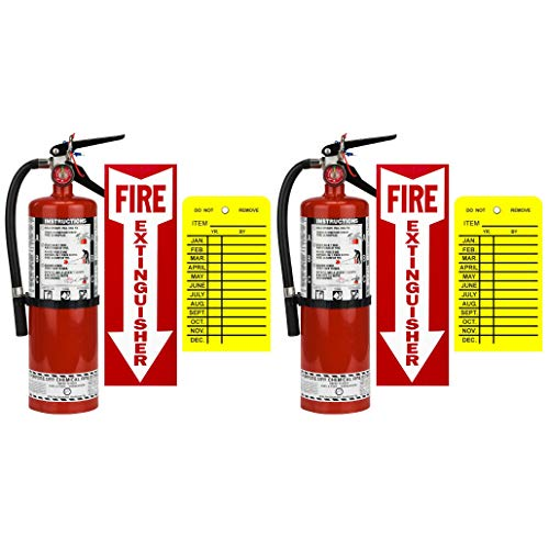 (Lot of 2) Strike First, 5 Lb. Type ABC Dry Chemical 2-A :10-B:C Fire Extinguishers with 2 -Vehicle Brackets 2 - Yellow Inspection Tags and Signs
