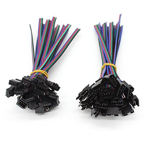 VIPMOON 20Pairs JST SM 4PIN Stecker Männlich zu Weiblich EL Draht Kabel Stecker Adapter