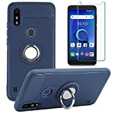 ZTE Blade A3 Prime Case with Glass Screen Protector, ZTE Blade A3Y Case Rotating Ring [Magnetic Car Mount] [360°Kickstand] Holder Soft TPU Protection Cover Case for ZTE Blade A3 Prime (Blue)