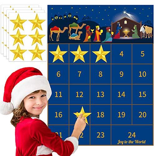 Joy Bang Nativity Countdown Advent Calendar Christmas Countdown Calendar 2020 Christmas 24 Days Countdown with Star Stickers for Christmas Nativity Home Classroom Wall Decorations