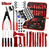 AUTOXEL 88 Pcs Trim Removal Tool, Fastener Remover Tool Kit Automotive Interior Plastic Pry Kit, Car Door Panel Tool Radio Auto Clip Pliers Removal Tool Kit, Red