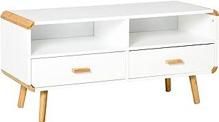 HOMCOM Meuble TV Bas sur Pieds Style scandinave 2 niches 2 tiroirs MDF Blanc Bois Massif Bambou