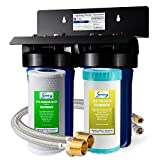 """iSpring US21B Commercial Grade Under Sink Water Filter System with Stainless Steel Hoses and 80K Super Capacity 10"""" x 4.5"""" Cartridges, Removes Chlorine, Iron, Lead, Odor and More"""