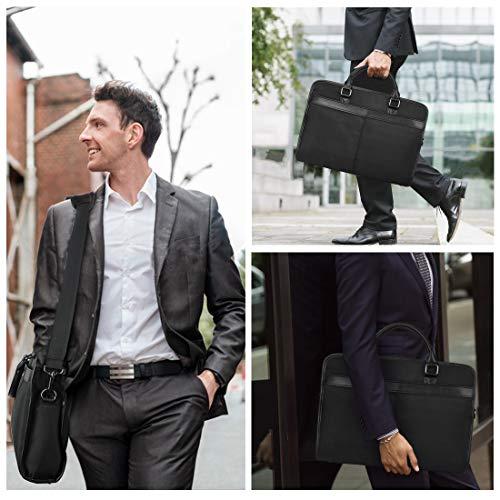 NEWHEY Laptop Tasche 15.6 Zoll Aktentasche Wasserabweisend Bussiness Laptoptasche Computer Tablet Tasche Notebooktasche Umhängetasche für Herren Schwarz