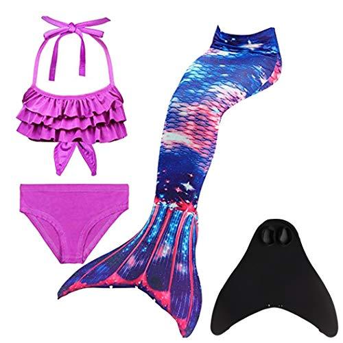 DNFUN Mädchen Meerjungfrauenschwanz Zum Schwimmen mit Meerjungfrau Flosse- Prinzessin Cosplay Bademode für das Schwimmen mit Bikini Set und Monoflosse, 4 Stück Set,DH41,150