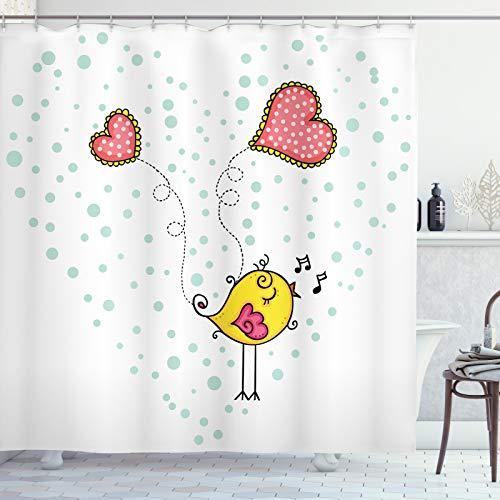 ABAKUHAUS Pájaro Amarillo Cortina de Baño, Corazón del pájaro del Amor, Material Resistente al Agua Durable Estampa Digital, 175 x 220 cm, Multicolor