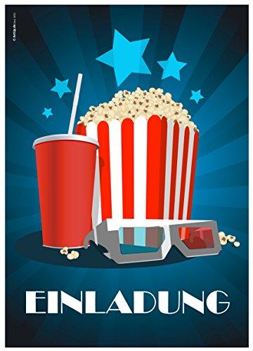 ArtUp.de 12 Einladungskarten Kino Popcorn zur Film- /Kinovorführung am Geburtstag Kindergeburtstag / Geburtstagseinladungen Einladungen Kinder Jungen Mädchen Einladungstext Vorlagen Karten Set