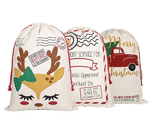 KEFAN 3 Pack Christmas Bag Santa Sack Canvas Bag for Gifts Santa Sack with Drawstrings Extra Large Size 27.5'x19.5' (Pattern 12)