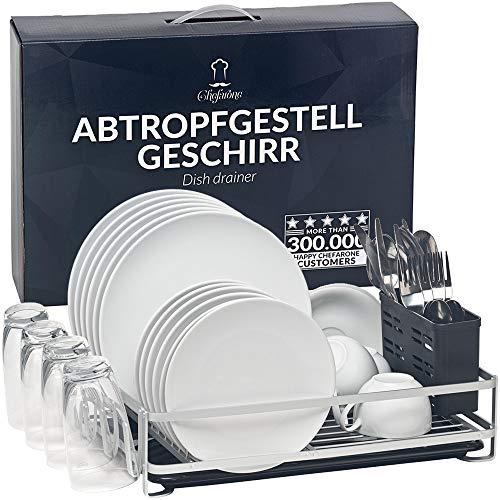 Chefarone Abtropfgestell Geschirr Aluminium - Geschirrabtropfgestell mit Abtropfschale und Besteckkorb - Geschirr Abtropfständer rostfrei (44 x 30,5 x 10,5 cm)
