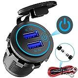 Enchufe de Cargador Rápido USB Dual QC3.0, Cargador USB Impermeable de 12V / 24V con Interruptor Táctil, Adecuado para Automóviles, Barcos, Vehículos Recreativos, Motocicletas, Camiones, etc.