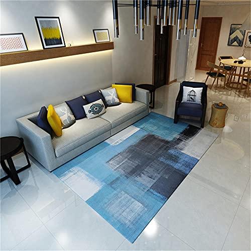 Alfombra habitacion niño Alfombra de Sala de Estar Tinta Azul Doodle Patrón Durable Alfombra Lavado de Agua Azul Alfombra Exterior terraza 160x230cm Alfombra Lavable Infantil 5ft 3''X7ft 6.6''