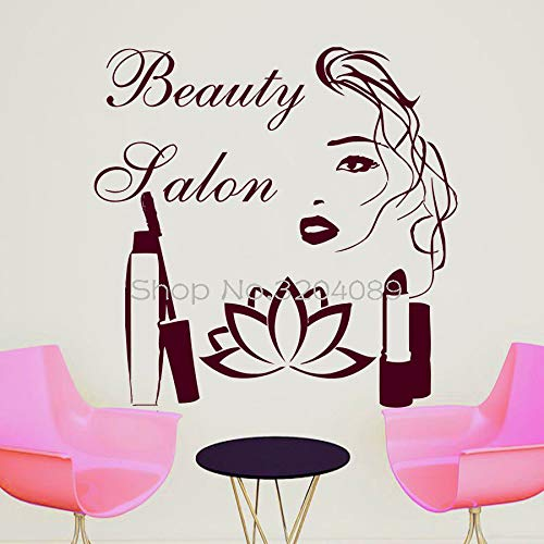 Ventas autoadhesivas Adhesivos de pared Cita Salón de belleza Maquillaje Mujer Mujer Vinilo removible Murales negros Calcomanías de arte 56X56CM