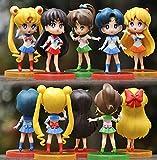 6 Unids / Set Anime Sailor Moon Mizuno Ami Kino Makoto Minako Aino Mini Figura De Acción Colección D...