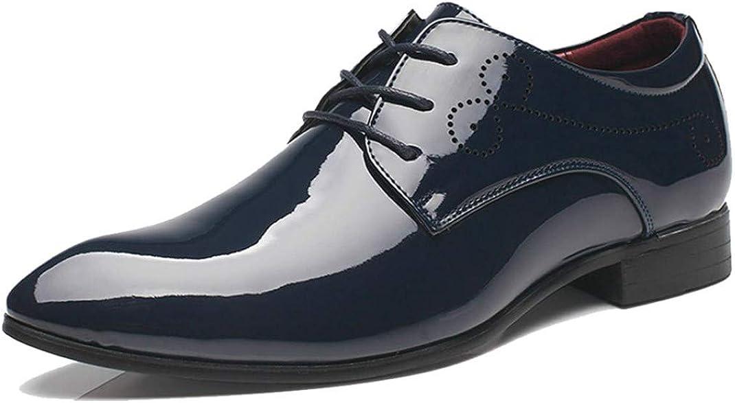 Hombres Zapatos Casuales de Negocios Moda Impermeable Transpirable Charol Pisos Bajos Color sólido Hombres Zapatos de Cuero Puntiagudos