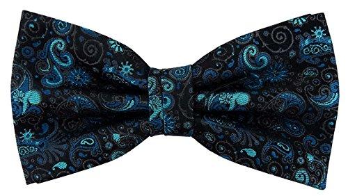 Designer Nœud papillon soie turquoise anthracite noir à motifs Ornamente - Nœud papillon soie silk