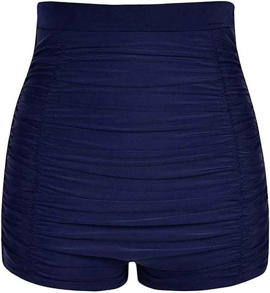 iQKA Women Plus Size High Waist Bikini Bottoms Swim Briefs Beach Shorts Ruched Bottoms Holiday Swimsuits Beachwear S-5XL