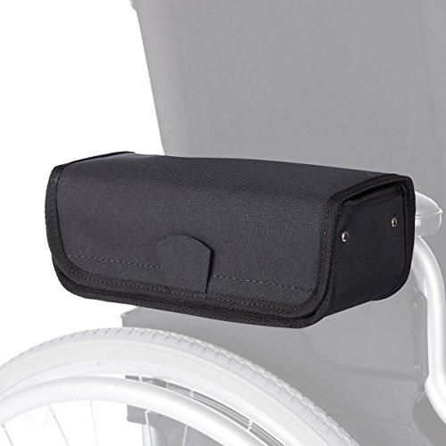 Rollstuhl-Armlehnetasche, Tasche Aufbewahrungstasche für Rollstuhl, wasserdicht & formstabil, Klettverschluss, 25x 10x 9 cm, schwarz