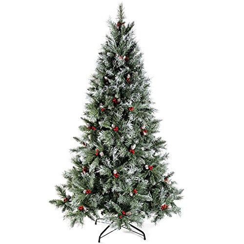 WeRChristmas Scandinavian Blue Spruce Christmas Tree Includes Pine Cones and Berries with Easy Build Hinged Branches, Green, 6 feet