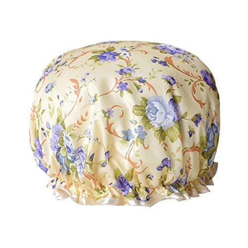 Zhouba Bonnet de douche double couche à pois pour femme