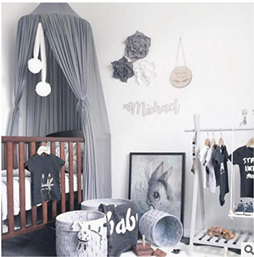 Bed Canopy for Kids Baby Bed, Round Dome Kids Indoor Outdoor Castle Play Tent Hanging House Decoration Reading Nook Cotton Canvas Coral