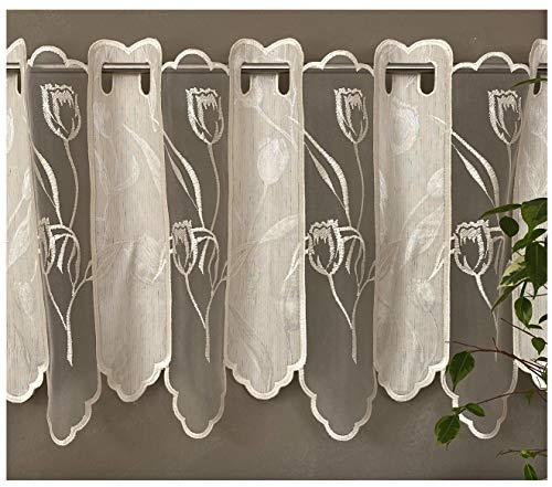 Scheibengardine Panneaux aus Natur Batist und Organza edel Bestickt Blumen in Ecru mit schön gebogter Kante HxB 45x137 cm - Bistro Gardine Typ134