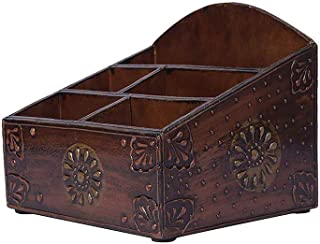 $30 » HappyGenie Wooden Desk Organizer, Caddy for Office Supplies, Makeup (Cosmetics), Stationary, Art Supplies, Home & Kitchen. Hand Crafted & Hand Painted - Copper Rustic Finish