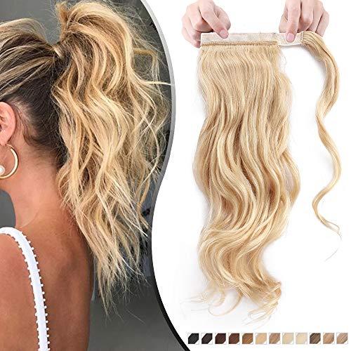 Elailite Coda Capelli Veri Clip Cavallo Extension Ponytail Naturale Vera Remy Human Hair Ondulati Mossi Ricci Fascia Unica 45cm 90g 613# Biondo Chiaro