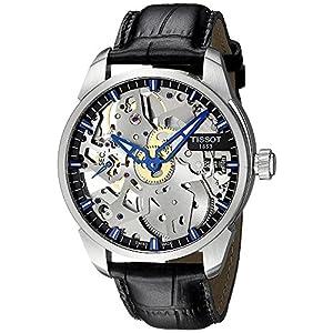 Tissot T-Complication Squelette Skeleton Dial Black Leather Mens Watch T0704051641100 image