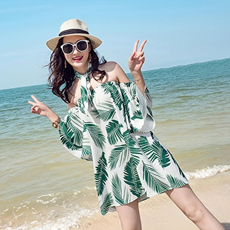 XIURONG Beach Skirt Sleeve Dress Strapless Bra Printing Beach Skirt